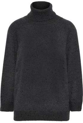 Brunello Cucinelli Open-back Embellished Cashmere And Silk-blend Turtleneck Sweater