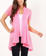 Bright Pink Hi-Low Drape-Front Open Cardigan
