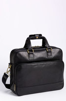 Bosca Men's Top Zip Leather Briefcase - Black