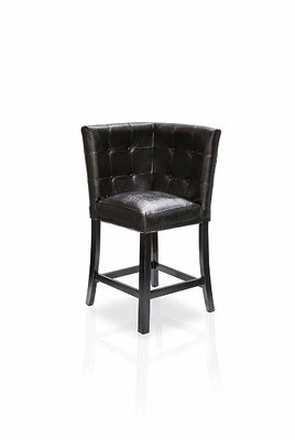 Louvinia Tufted Leather Upholstered Side Chair in Black Latitude Run