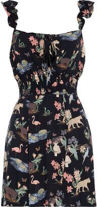 Reformation Emmaline Shirred Printed Crepe Mini Dress