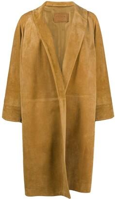 Prada Open Front Leather Coat