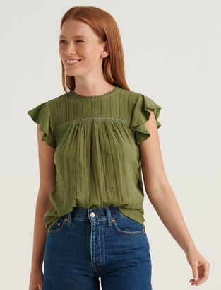 Lucky Brand Embroidered Woven Mix Sleeveless Top