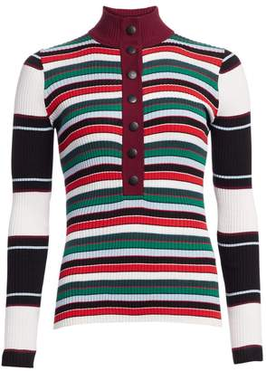 Proenza Schouler White Label Ribbed Rugby Striped Turtleneck Sweater