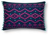 Xhilaration Navy Denim Embroidered Throw Pillow