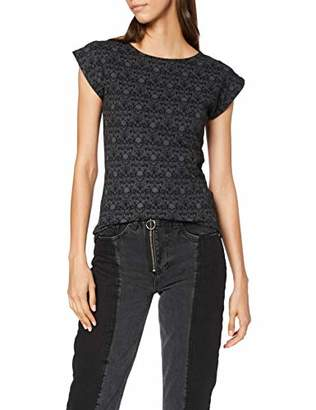 Spiral Direct Women's Gothic Elegance - Scroll Impression Cap Sleeve Top T - Shirt,8 (Size:S)