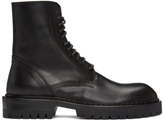 Ann Demeulemeester Black Lace-Up Combat Boots