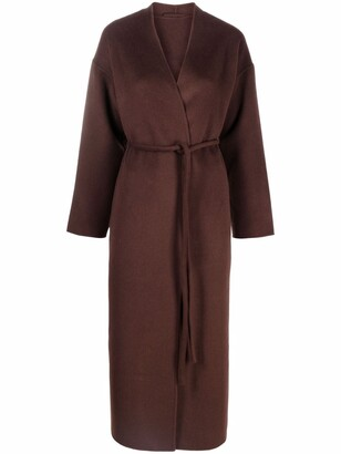 Anine Bing Belted Cashmere-Wool Long Coat