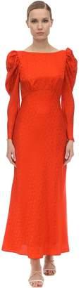 Saloni Puff Sleeve Jacquard Satin Midi Dress