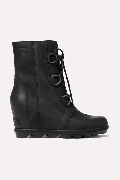 Sorel Joan Of Arctic Wedge Ii Waterproof Leather And Rubber Ankle Boots - Black