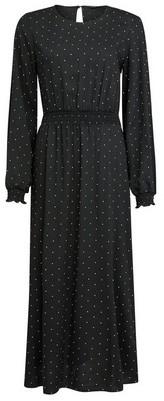 Dorothy Perkins Womens Black Spot Print Shirred Waist Midi Dress, Black