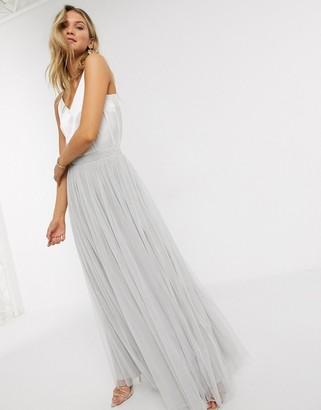 Beauut tulle maxi skirt in light grey
