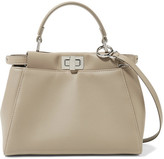 Fendi Peekaboo Mini Leather Shoulder Bag - Stone
