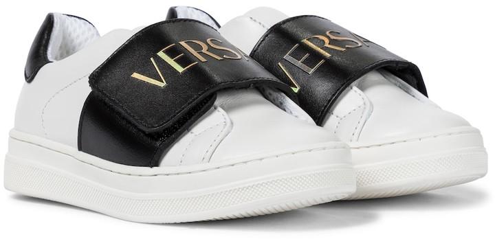 Versace Kids Logo leather sneakers