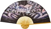 Oriental Furniture Asian Art, Decor and Gifts, 60-Inch Hand Painted Thai Silk and Bamboo Decorative Wall Fan, Red Night