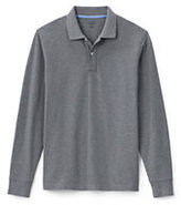 Lands' End Men's Long Sleeve Solid Mesh Polo Shirt-Dark Charcoal Heather