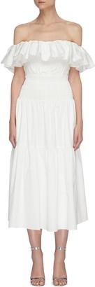 Self-Portrait Off shoulder ruffle cotton poplin midi dress