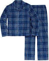 JELLIFISH KIDS Jelli Fish Boys 2Pc Coat Front Navy Plaid Pajama Set-Big Kid