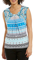 Allison Daley Pleated Neck Printed Sleeveless Knit Top