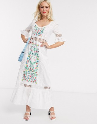 Asos DESIGN embroidered tiered maxi dress with lace inserts in white