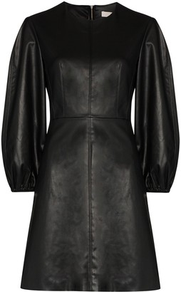 Tibi Puff Sleeve Faux Leather Dress
