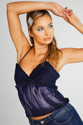 Jaded London Womens **Blue Denim Halter Neck Top By Mid Stone