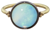 Laura Lee Jewellery Round Opal Ring - Rhodium and Gold