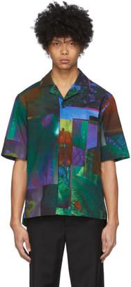 Acne Studios Navy and Green Botanical Print Short Sleeve Shirt