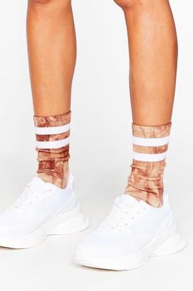 Nasty Gal Womens Stripe Back Atcha Ribbed Tie Dye Socks - Grey - One Size