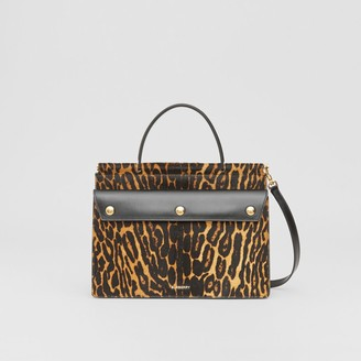 Burberry Small Leopard Print Title Bag with Pocket Detail