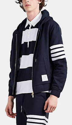 Thom Browne Men's Block-Striped Ripstop-Inset Cotton Zip-Front Hoodie - Navy