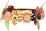 Prada Floral-appliquéd Textured-leather Bracelet - Black