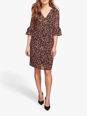 Sosandar Leopard Print Ruffle Sleeve Shift Dress, Multi