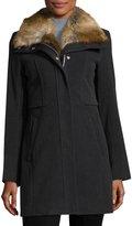 Andrew Marc Haven Fur-Trim Coat, Charcoal