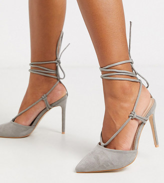 Public Desire Wide Fit Bardot tie up heeled shoes in grey