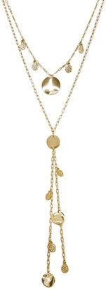 Ettika Gold Disc Lariat Necklace - Set of 2