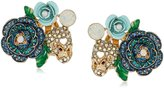 "Betsey Johnson Skulls and Roses"" Pave Flower and Skull Cluster Clip-On Earrings"