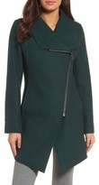 Petite Women's Halogen Asymmetrical Zip Boiled Wool Blend Coat