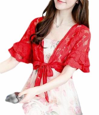 CRYYU Women Tie Front Floral Lace Short Sleeve Bolero Shrug Cardigan Jacket - Red - US X-Large
