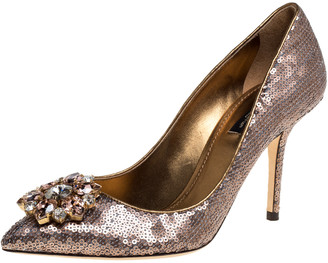 Dolce & Gabbana Gold Sequin Crystal Embellished Bellucci Pointed Toe Pumps Size 38.5
