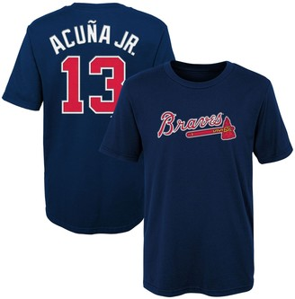 Majestic Preschool Ronald Acuna Jr. Navy Atlanta Braves Name & Number T-Shirt