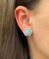 Swarovski Sevil 925 Women's Earrings - Sterling Silver Baguette and Round Cut Hexagon Stud Earring With Crystals