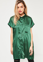Missguided Green Oversized Satin Shirt