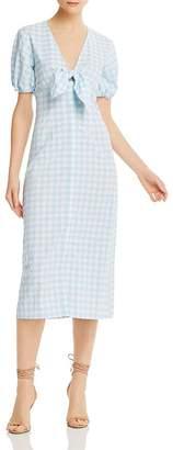 The Fifth Label Nouveau Tie-Detail Gingham Midi Dress
