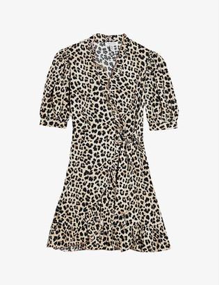 Topshop Leopard-print crepe mini dress