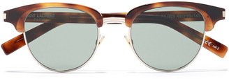 Saint Laurent D-frame Tortoiseshell-print Acetate And Gold-tone Sunglasses