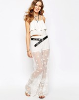 Glamorous Embroidered Festival Lace Wide Leg Pant