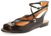 French Sole Wiley Peep-Toe Leather Flat