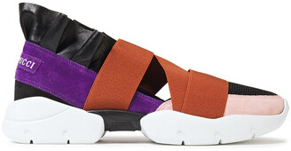 Emilio Pucci City Up Ruffled Leather, Mesh And Suede Slip-on Sneakers