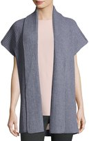 Lafayette 148 New York Shawl-Collar Rib-Knit Vest, Nickel